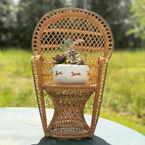 Vintage Wicker Peacock Chair Plant Stand Boho